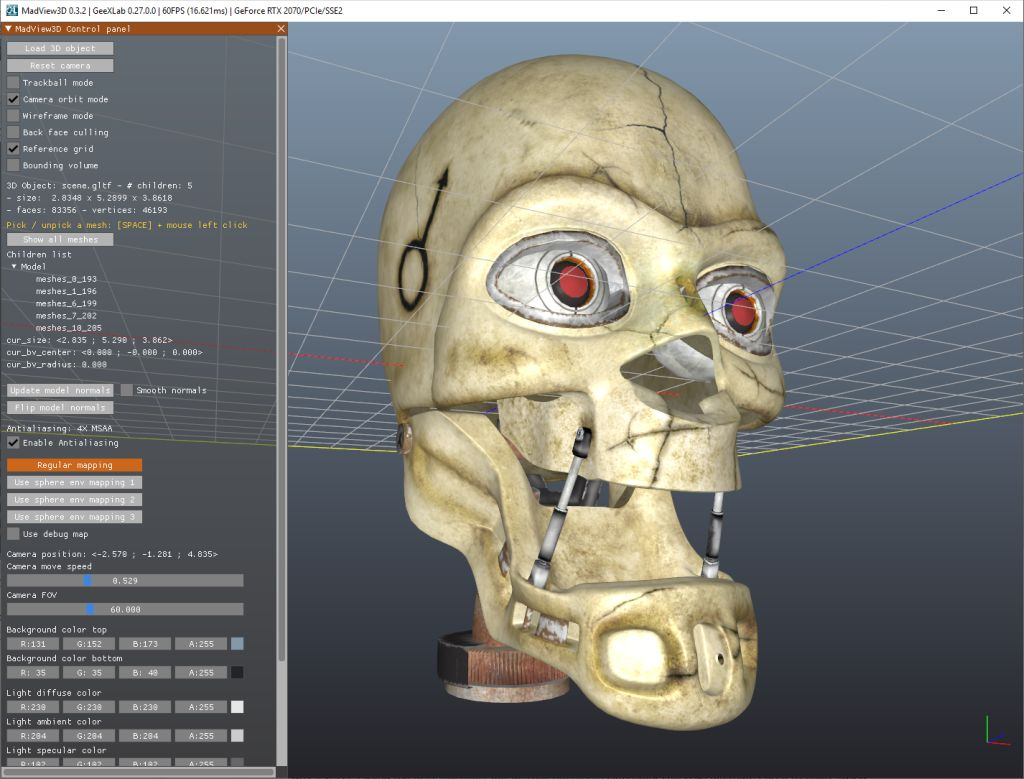 MadView3D - 3D object viewer - 3ds, obj, gltf, etc...