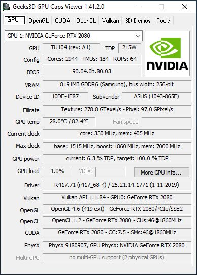 GPU Caps Viewer + RTX 2080