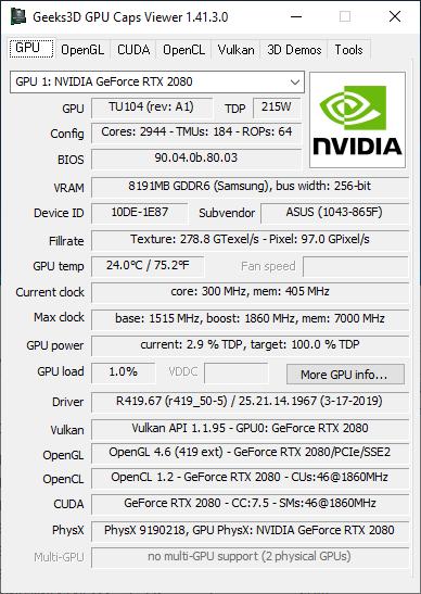 GPU Caps Viewer + GeForce RTX 2080