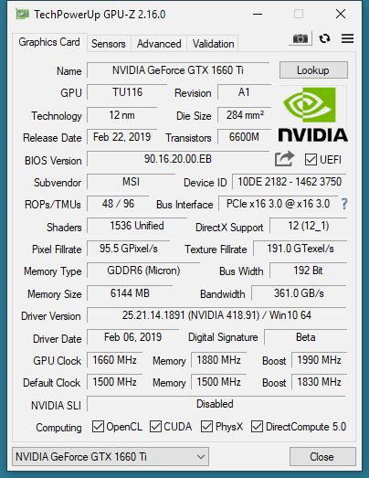 NVIDIA GeForce GTX 1660 Ti 6GB - GPU-Z