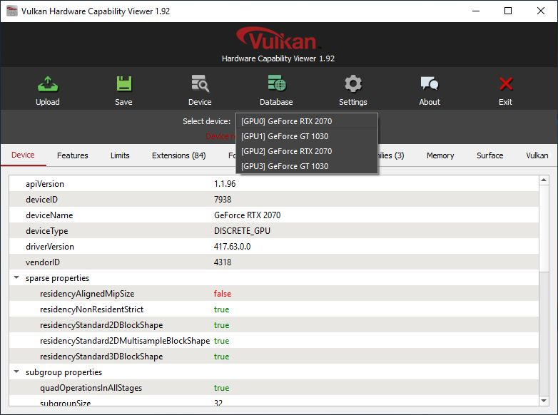 Vulkan Caps Viewer + NVIDIA Vulkan drivers + RTX 2070 + GT 1030
