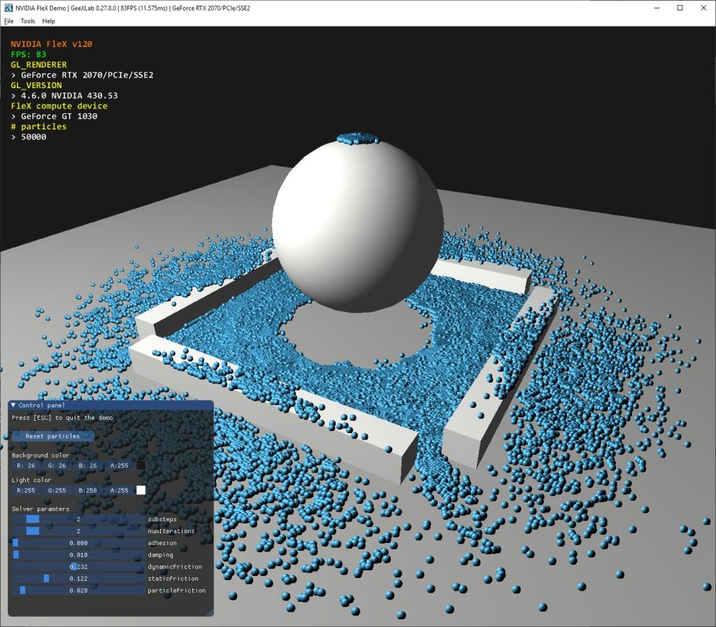 GeeXLab - NVIDIA FleX demo