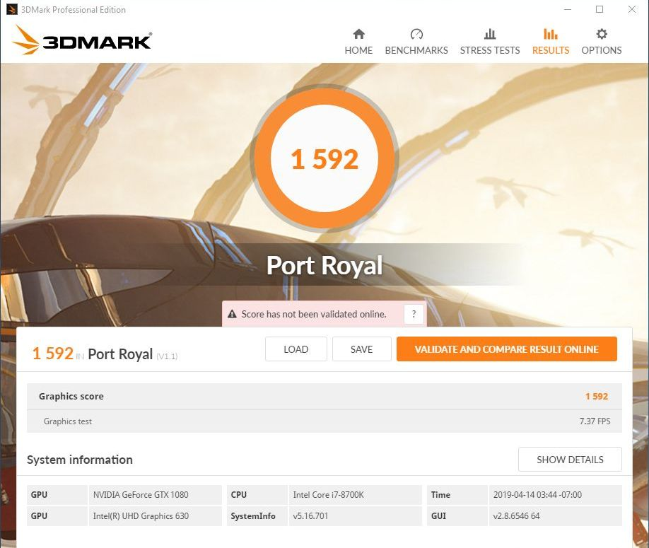 3DMark Port Royal DirectX Raytracing Benchmark - GeForce GTX 1080 score
