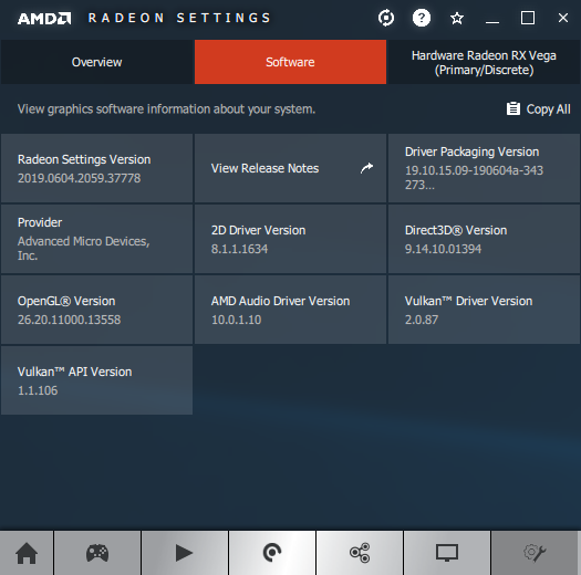 AMD Adrenalin software information panel + Radeon RX Vega 56