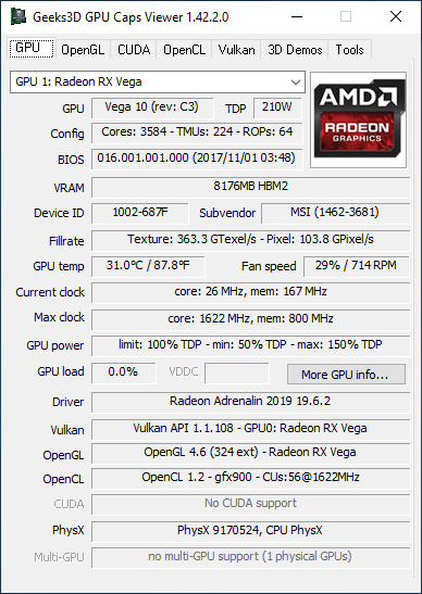 AMD Adrenalin 2019 Edition - GPU Caps Viewer + Radeon RX Vega 56