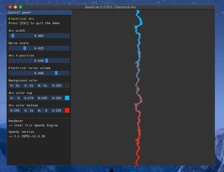 GeeXLab - simple electrical arc in GLSL