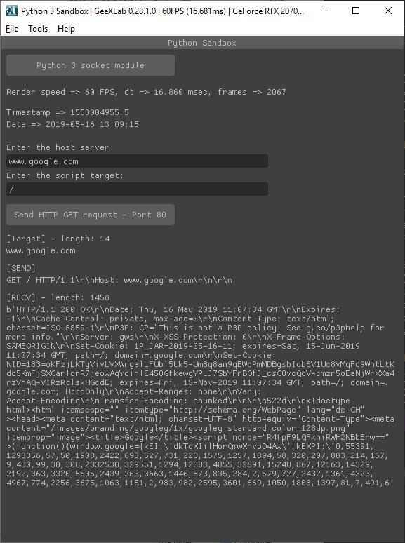 GeeXLab - Python 3 - HTTP request