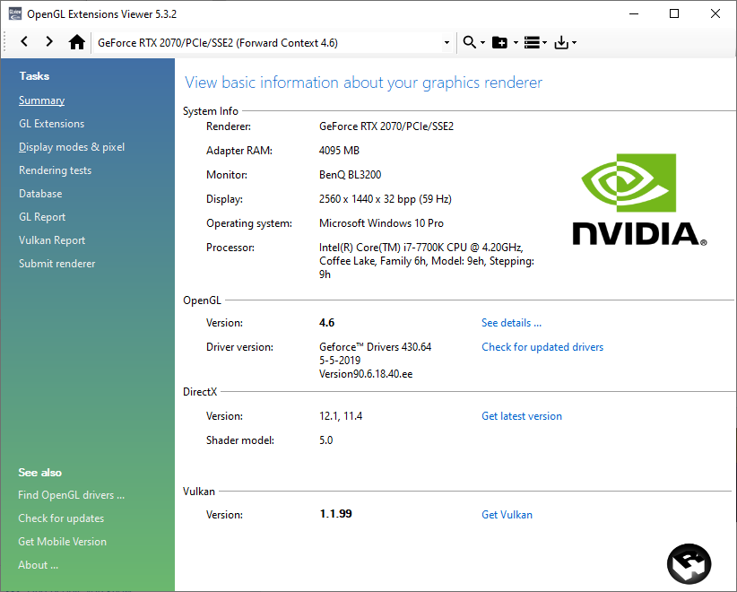 glview 5.3.2 + GeForce RTX 2070