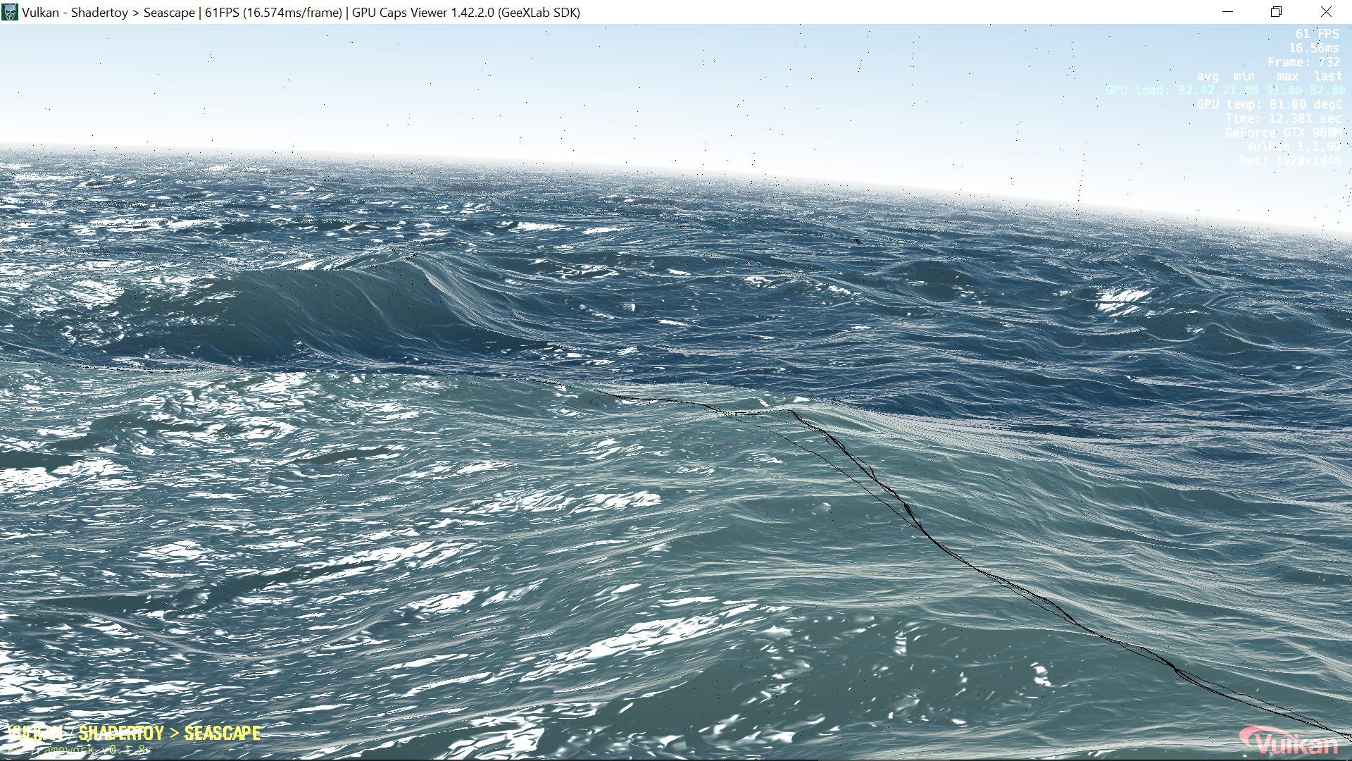 GPU Caps Viewer - Seascape demo, visual glitches