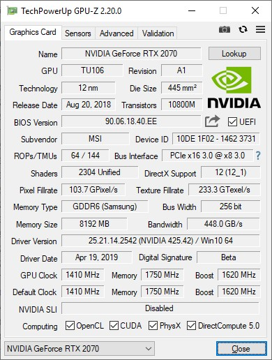 GPU-Z 2.20.0 + GeForce RTX 2070