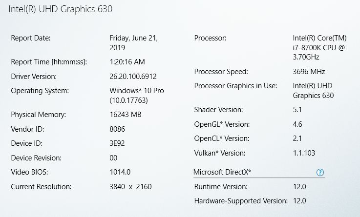 Intel HD graphics driver v6912