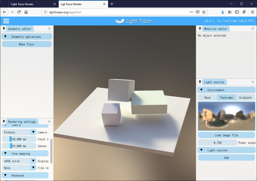 Light Tracer: Experimental GPU Ray Tracer for Web