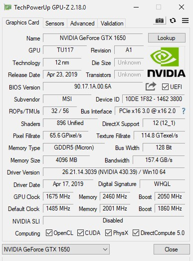 NVIDIA GeForce GTX 1650 Launched (Turing TU117 at $150