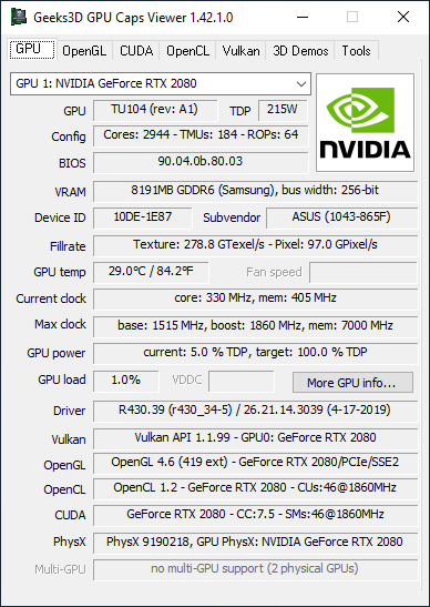 NVIDIA GeForce 430.39 + GPU Caps Viewer + RTX 2080