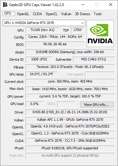 GPU Caps Viewer + RTX 2070