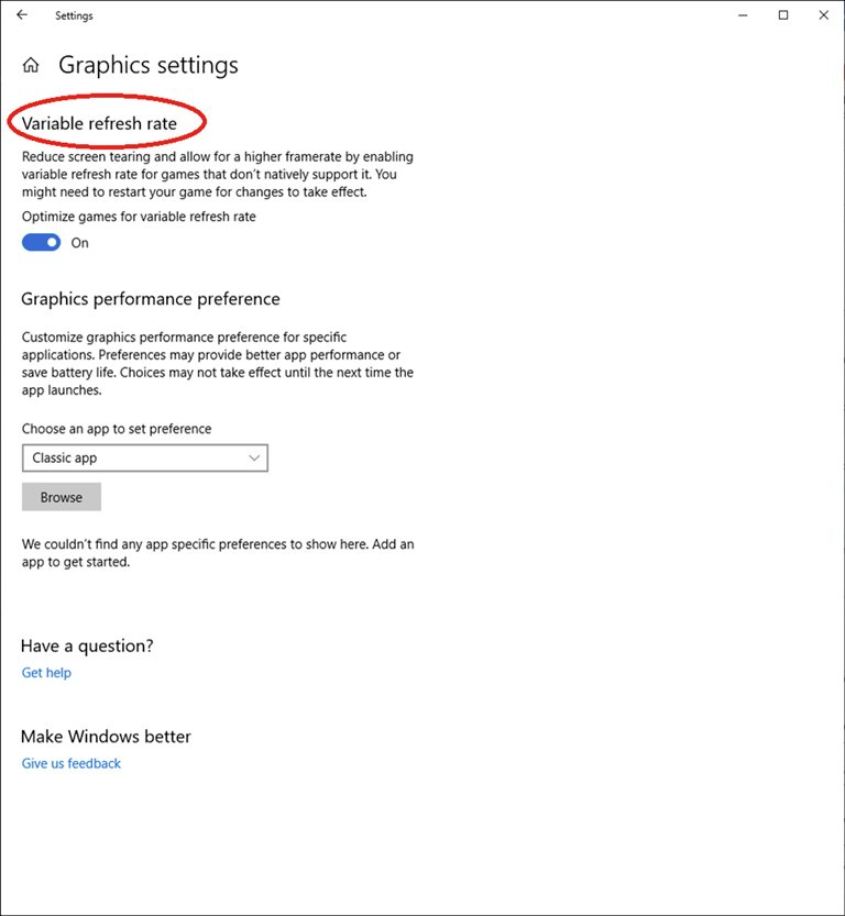 Windows 10 VRR setting