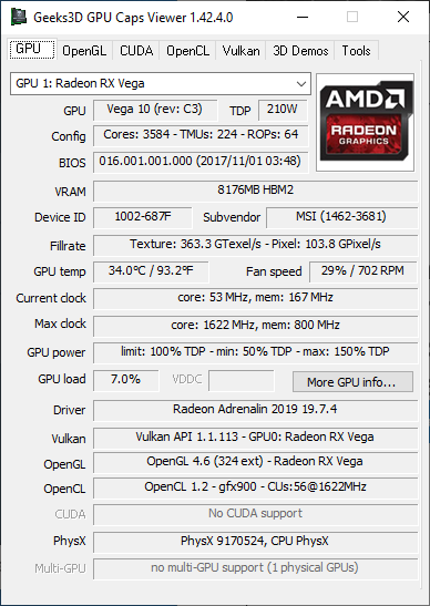 AMD Adrenalin 1.9.7.4 information - GPU Caps Viewer