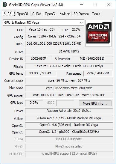 GPU Caps Viewer + Radeon Adrenalin 19.9.1