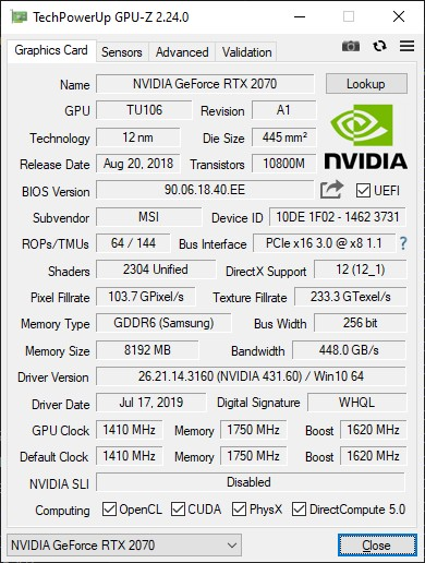 GPU-Z 2.24.0 + GeForce RTX 2070