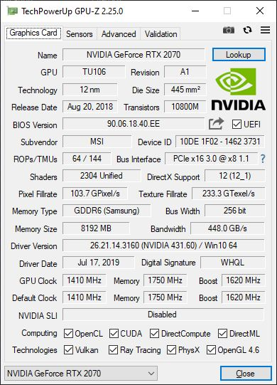 GPU-Z 2.25.0 + GeForce RTX 2070