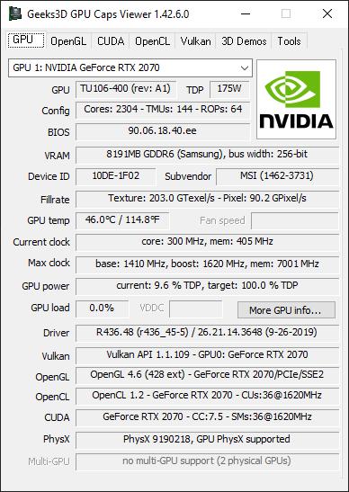 NVIDIA GeForce 436.48 + RTX 2070 + GPU Caps Viewer