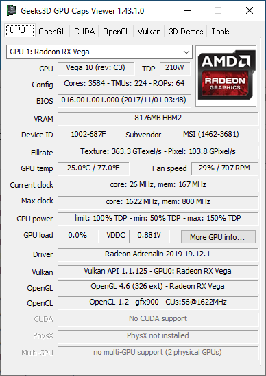 GPU Caps Viewer + Radeon RX Vega 56