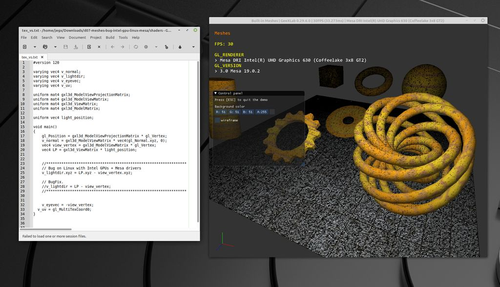 GeeXLab - GLSL bug on Intel GPU on Linux + Mesa driver