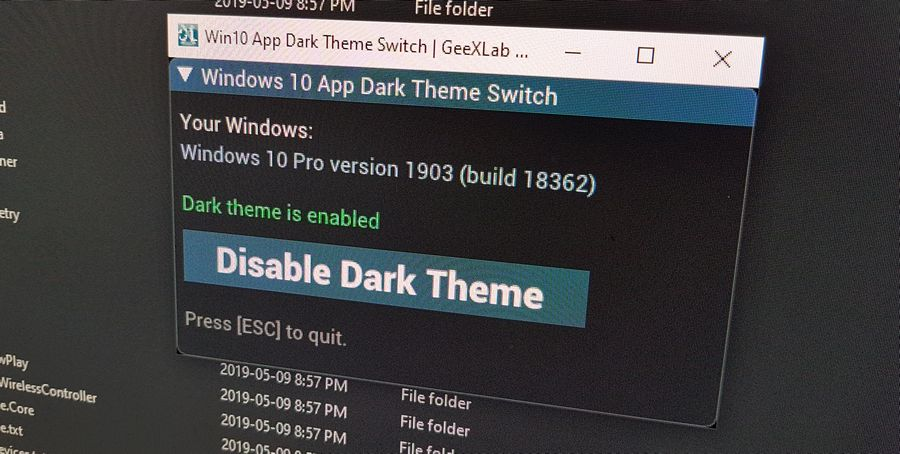 Windows 10 App Dark Theme Switch