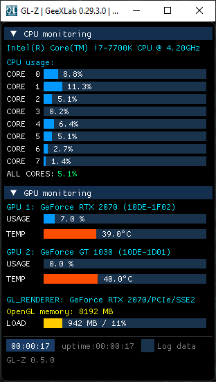 GL-Z on Windows + Intel CPU + NVIDIA GeForce - CPU and GPU monitoring