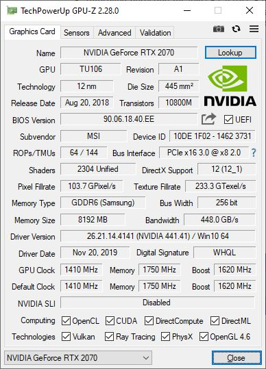 GPU-Z 2.28.0 + GeForce RTX 2070