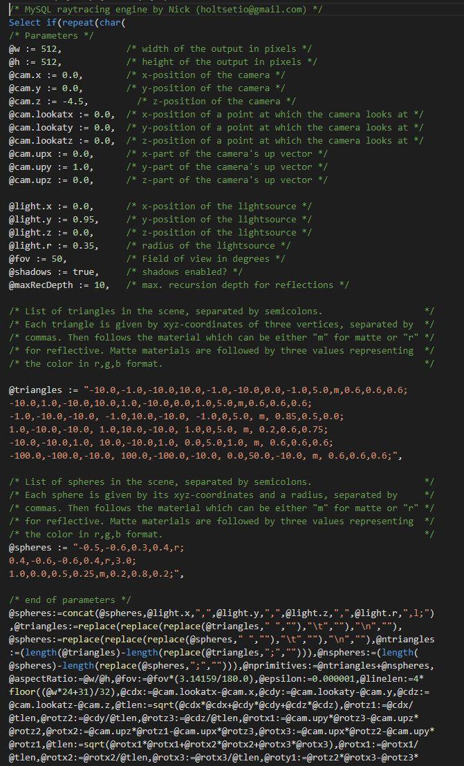 MySQL Raytracer