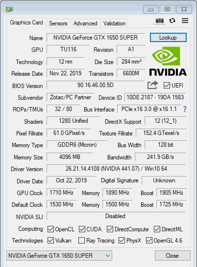 NVIDIA GeForce GTX 1650 SUPER - GPU-Z