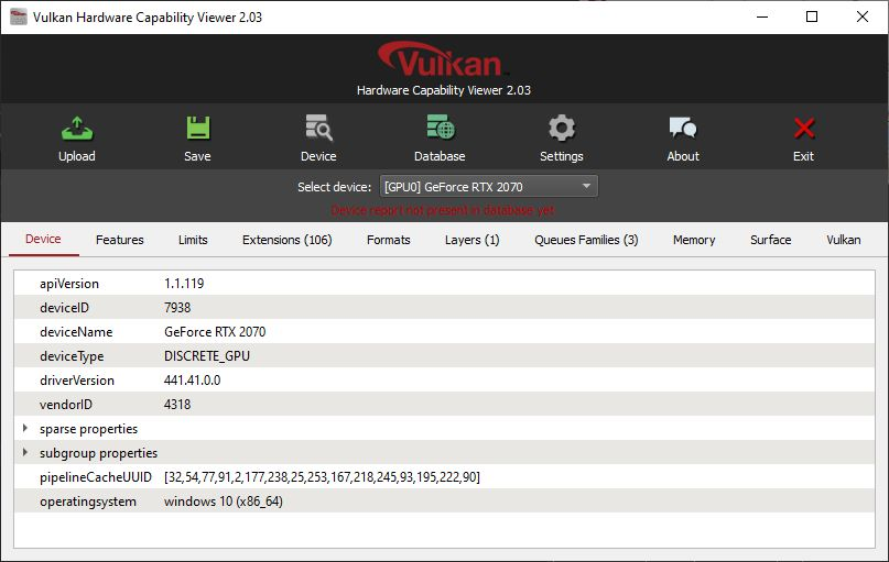 Vulkan Hardware Capability Viewer