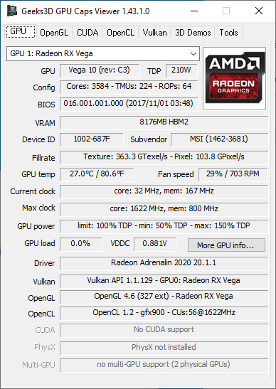 AMD Radeon Adrenalin 20.1.1 + Radeon RX Vega 56 + GPU Caps Viewer