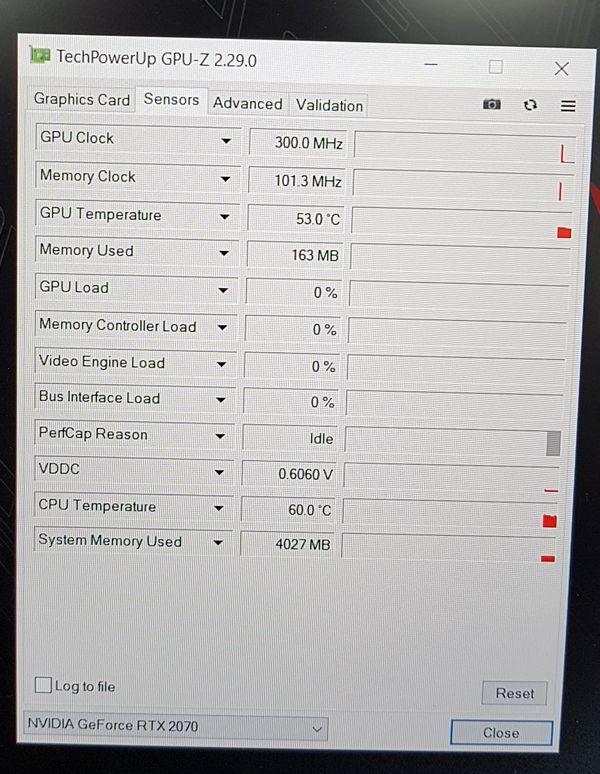 ASUS ROG Zephyrus S GX502GW Gaming Notebook - GPU-Z, hardware sensors