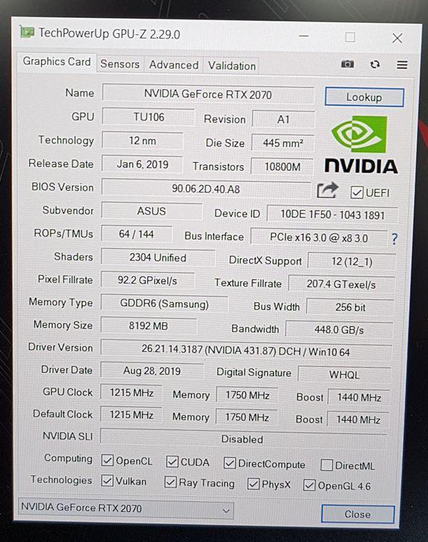 ASUS ROG Zephyrus S GX502GW Gaming Notebook - GPU-Z