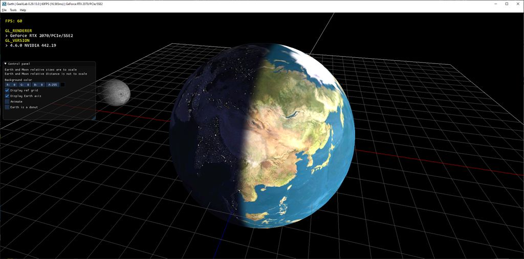 GeeXLab demo - Earth: Day to Night Transition - OpenGL