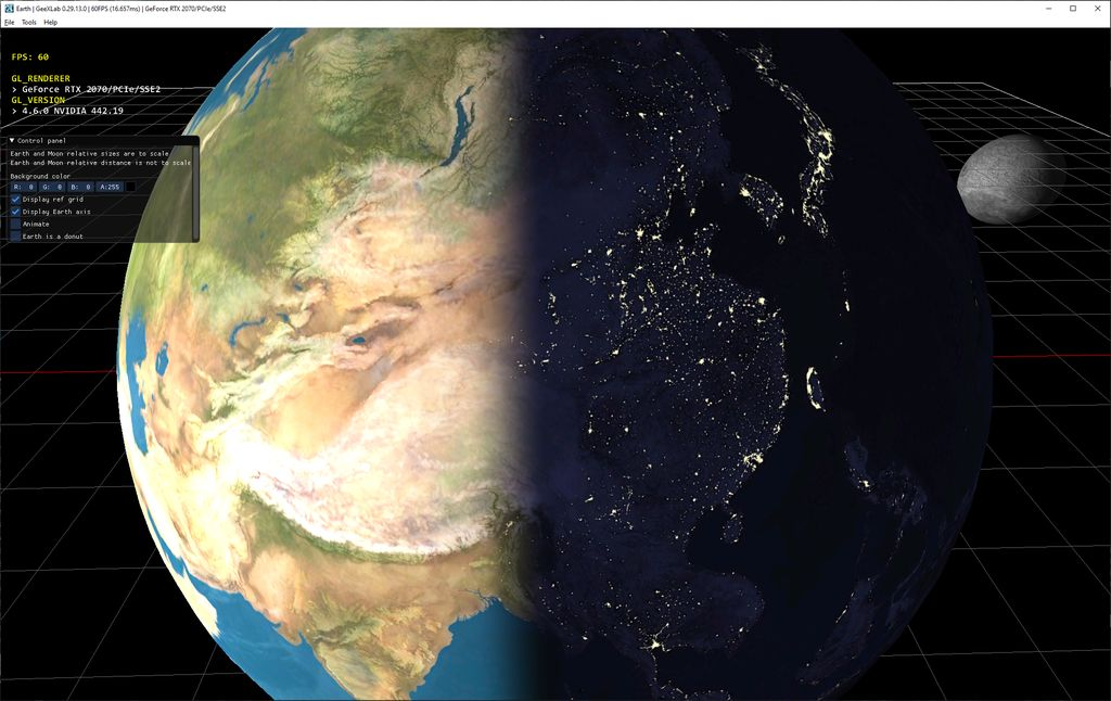 GeeXLab Earth rendering with day and night textures