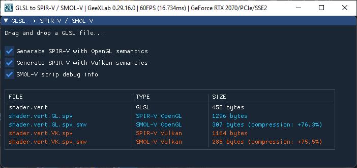 SMOL-V: SPIR-V compressor - test in GeeXLab