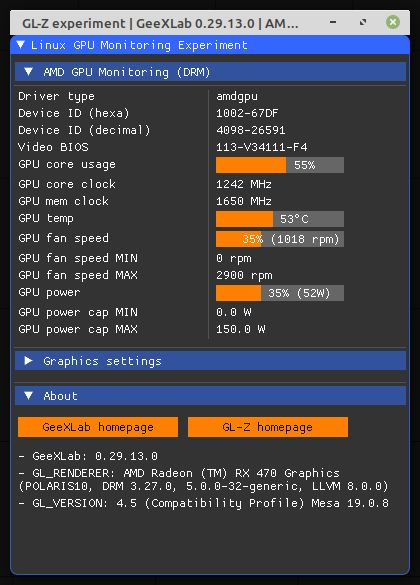 GPU monitoring on Linux with DRM - GeeXLab prototype