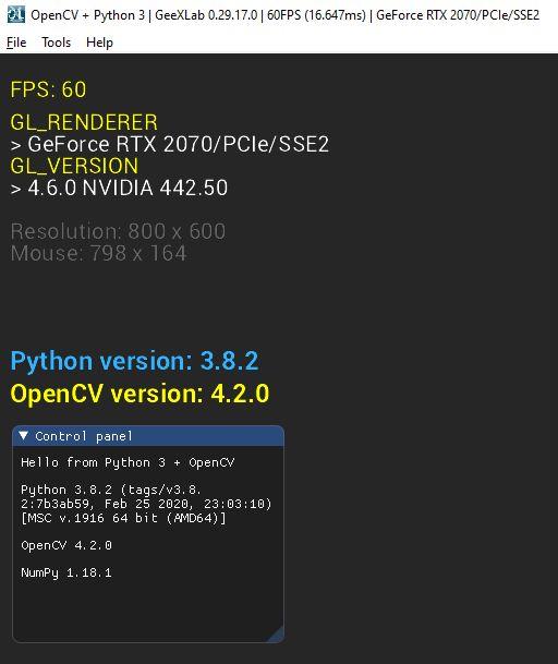GeeXLab + Python 3 + OpenCV