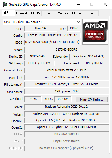 GPU Caps Viewer 1.44.0 - GPU panel + Radeon RX 5500 XT