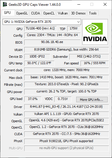GPU Caps Viewer 1.44.0 - GPU panel + GeForce RTX 2070