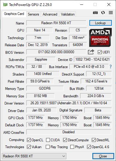 GPU-Z 2.29.0 + Radeon RX 5500 XT