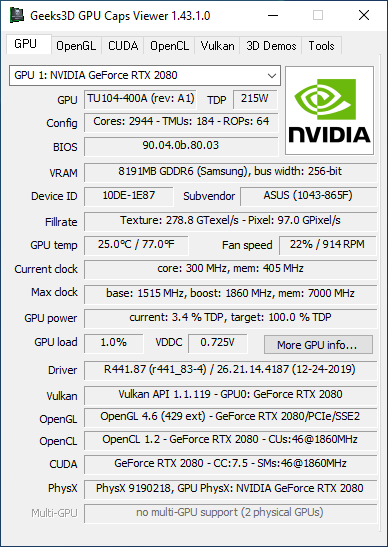 NVIDIA GeForce 441.87 + GPU Caps Viewer + GeForce RTX 2080