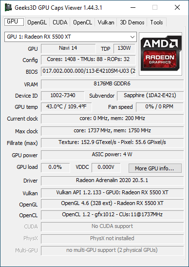 AMD Adrenalin 2020 Edition - GPU Caps Viewer + Radeon RX 5500 XT