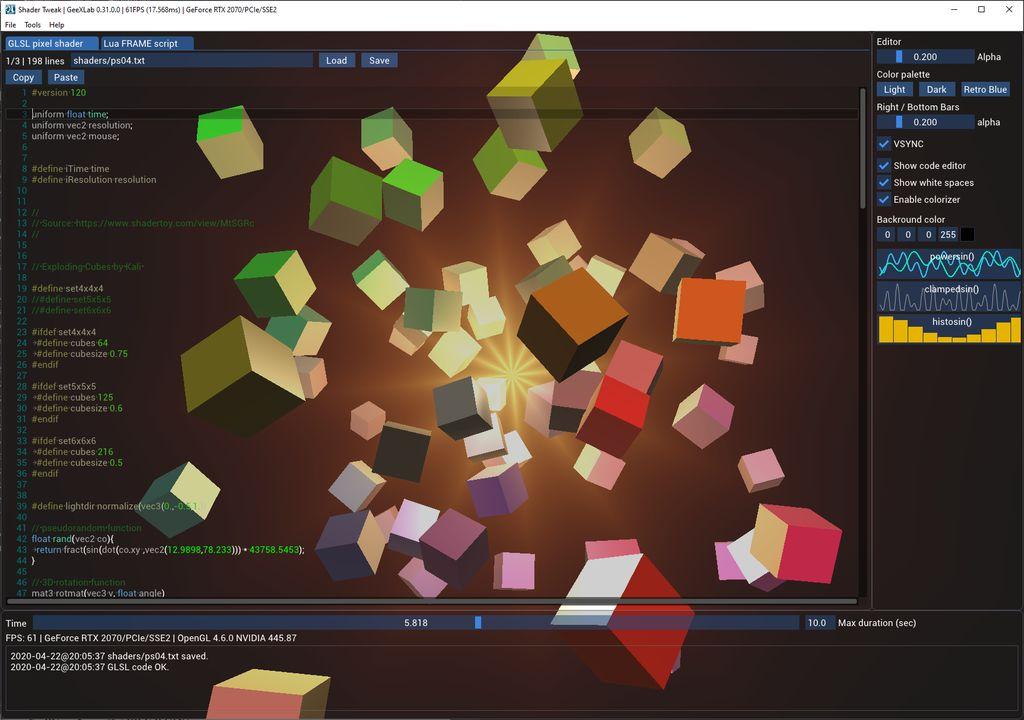 GeeXLab demo - shader tweak - text editor for ImGui