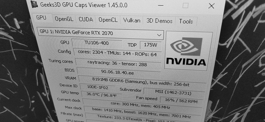 GPU Caps Viewer + GeForce RTX 2070