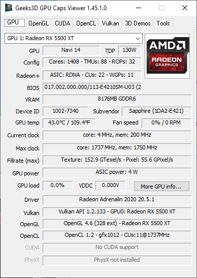 GPU Caps Viewer + Radeon RX 5500 XT