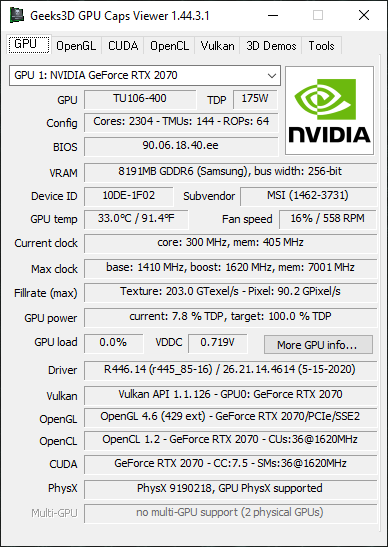 NVIDIA GeForce 446.14 + GPU Caps Viewer + GeForce RTX 2070